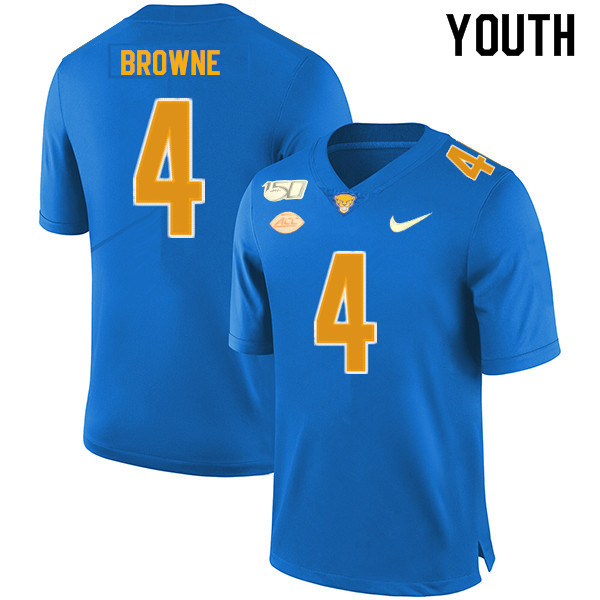 2019 Youth #4 Max Browne Pitt Panthers College Football Jerseys Sale-Royal